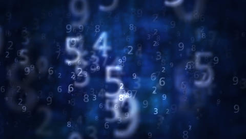 2K Numbers Blue Background 1 CG動画素材