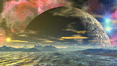 Sea, Huge Planet And Nebula stock footage