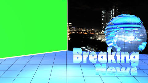 Breaking News Broadcast TV Hologram World Green Screen Footage