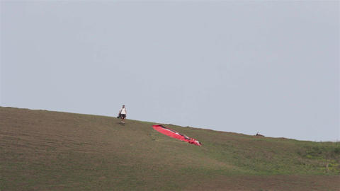 Paraglider On The Ground 02a stock footage