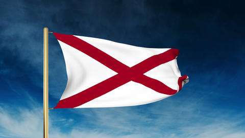 Alabama flag slider style. Waving in the win with cloud background animation Animation