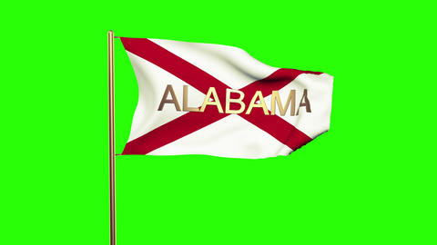 Alabama flag with title waving in the wind. Looping sun rises style. Animation l Animation