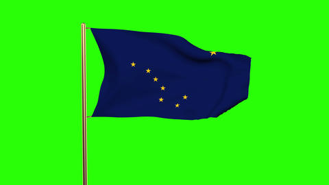 Alaska flag waving in the wind. Green screen, alpha matte. Loopable animation Animation