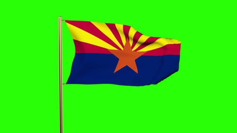 Arizona flag waving in the wind. Green screen, alpha matte. Loopable animation Animation