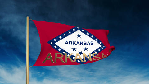 Arkansas flag slider style with title. Waving in the wind with cloud background  Animation