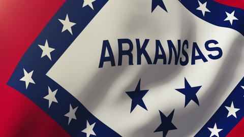 Arkansas flag waving in the wind. Looping sun rises style. Animation loop Animation