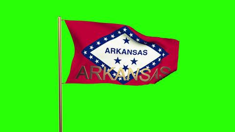Arkansas flag with title waving in the wind. Looping sun rises style. Animation  Animation