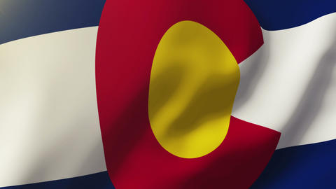 Colorado flag waving in the wind. Looping sun rises style. Animation loop Animation