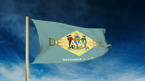 Delaware flag slider style with title. Waving in the wind with cloud background  Animation