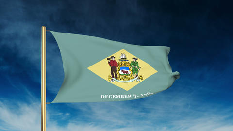 Delaware flag slider style. Waving in the win with cloud background animation Animation