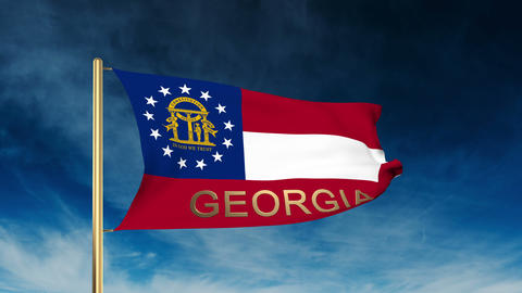 Georgia flag slider style with title. Waving in the wind with cloud background a Animation
