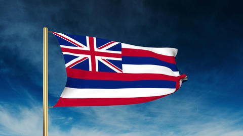 Hawaii flag slider style. Waving in the win with cloud background animation Animation