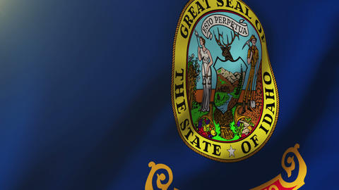 Idaho flag waving in the wind. Looping sun rises style. Animation loop Animation