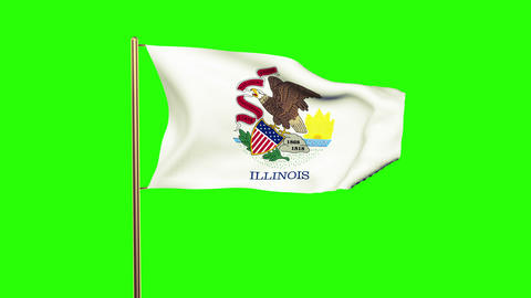 Illinois flag waving in the wind. Green screen, alpha matte. Loopable animation Animation
