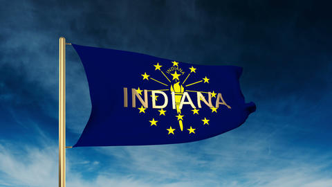 Indiana flag slider style with title. Waving in the wind with cloud background a Animation