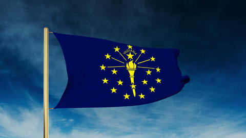 Indiana flag slider style. Waving in the win with cloud background animation Animation
