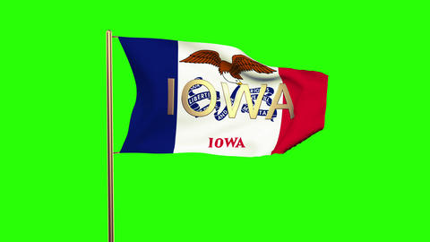 Iowa flag with title waving in the wind. Looping sun rises style. Animation loop Animation