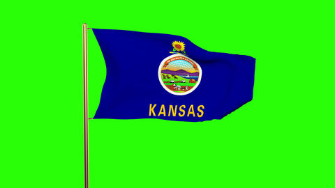 Kansas flag waving in the wind. Green screen, alpha matte. Loopable animation Animation