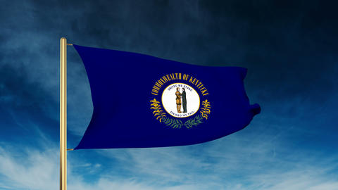 Kentucky flag slider style. Waving in the win with cloud background animation Animation