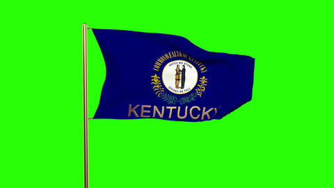 Kentucky flag with title waving in the wind. Looping sun rises style. Animation  Animation