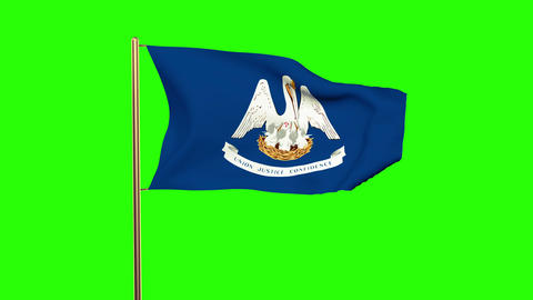 Louisiana flag waving in the wind. Green screen, alpha matte. Loopable animation Animation
