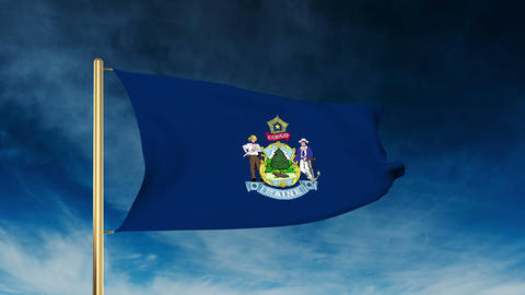 Maine flag slider style. Waving in the win with cloud background animation Animation