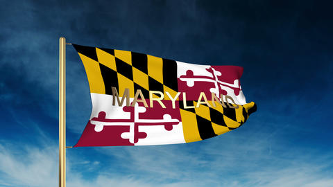 Maryland flag slider style with title. Waving in the wind with cloud background  Animation