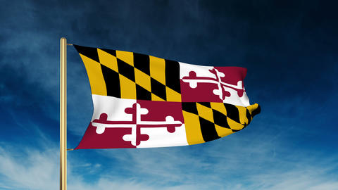 Maryland flag slider style. Waving in the win with cloud background animation Animation