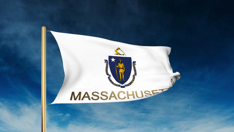 Massachusetts flag slider style with title. Waving in the wind with cloud backgr Animation