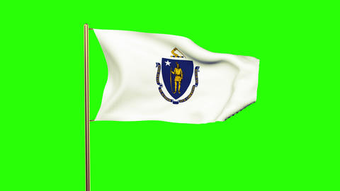 Massachusetts flag waving in the wind. Green screen, alpha matte. Loopable anima Animation