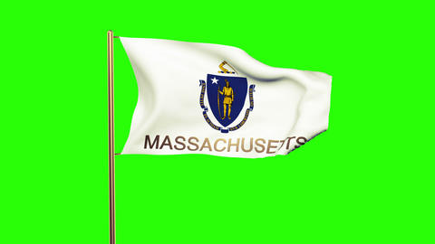 Massachusetts flag with title waving in the wind. Looping sun rises style. Anima Animation