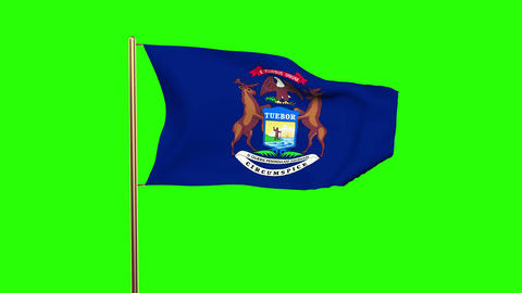 Michigan flag waving in the wind. Green screen, alpha matte. Loopable animation Animation