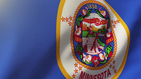Minnesota flag waving in the wind. Looping sun rises style. Animation loop Animation