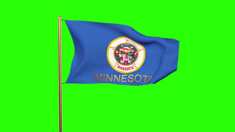 Minnesota flag with title waving in the wind. Looping sun rises style. Animation Animation