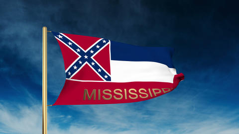 Mississippi flag slider style with title. Waving in the wind with cloud backgrou Animation