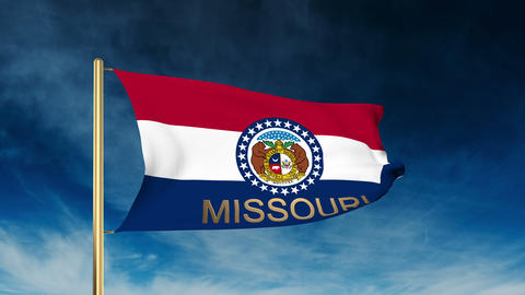Missouri flag slider style with title. Waving in the wind with cloud background  Animation