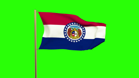 Missouri Flag Waving In The Wind. Green Screen, Alpha Matte. Loopable Animation stock footage