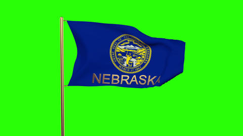Nebraska flag with title waving in the wind. Looping sun rises style. Animation  Animation