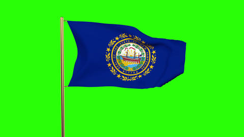 New Hampshire flag waving in the wind. Green screen, alpha matte. Loopable anima Animation