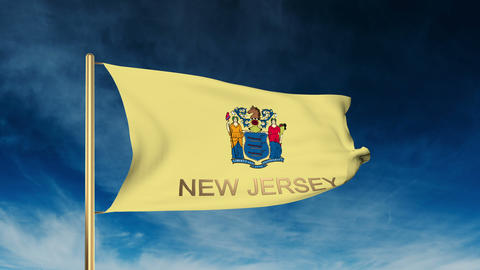 New Jersey flag slider style with title. Waving in the wind with cloud backgroun Animation