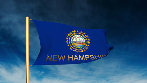 New Hampshire flag slider style with title. Waving in the wind with cloud backgr Animation