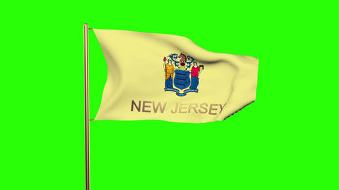New Jersey flag with title waving in the wind. Looping sun rises style. Animatio Animation
