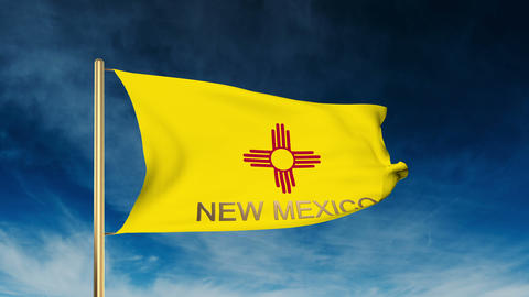 New Mexico flag slider style with title. Waving in the wind with cloud backgroun Animation