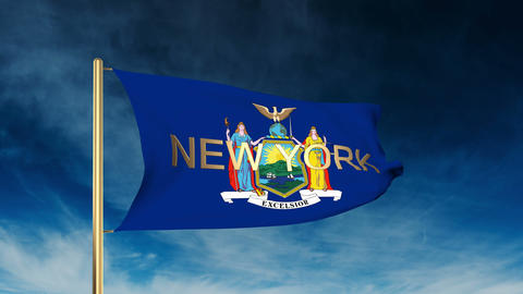 New York flag slider style with title. Waving in the wind with cloud background  Animation
