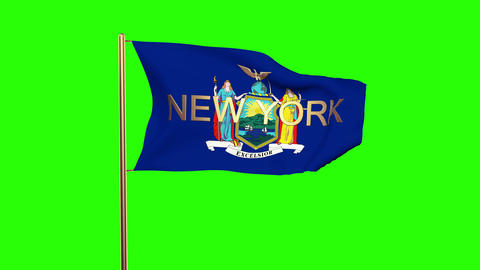 New York flag with title waving in the wind. Looping sun rises style. Animation  Animation