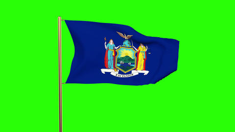 New York flag waving in the wind. Green screen, alpha matte. Loopable animation Animation