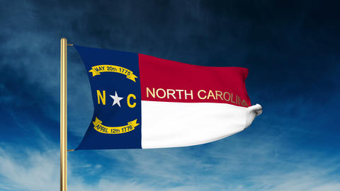 North Carolina flag slider style with title. Waving in the wind with cloud backg Animation