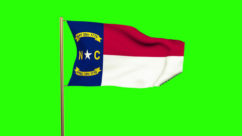 North Carolina flag waving in the wind. Green screen, alpha matte. Loopable anim Animation