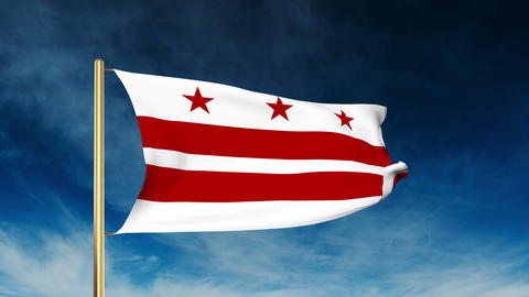 Washington DC flag slider style. Waving in the win with cloud background animati Animation