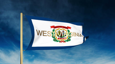 West Virginia flag slider style with title. Waving in the wind with cloud backgr Animation
